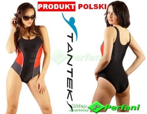9b9cecee6b87f8 DAMSKI strój pływacki usztywniane miseczki na basen czarno-czerwony  STANTEKS | WYSYŁKA 24h